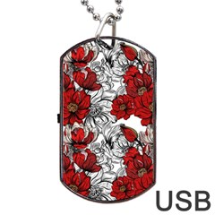 Hand Drawn Red Flowers Pattern Dog Tag Usb Flash (two Sides) by TastefulDesigns