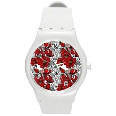 Hand Drawn Red Flowers Pattern Round Plastic Sport Watch (m) by TastefulDesigns