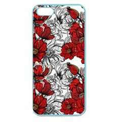 Hand Drawn Red Flowers Pattern Apple Seamless Iphone 5 Case (color) by TastefulDesigns