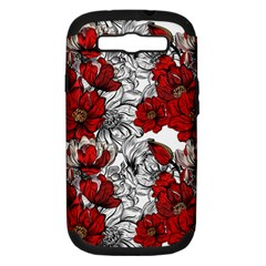 Hand Drawn Red Flowers Pattern Samsung Galaxy S Iii Hardshell Case (pc+silicone) by TastefulDesigns