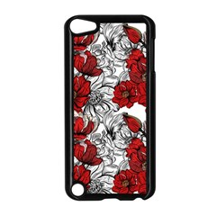 Hand Drawn Red Flowers Pattern Apple Ipod Touch 5 Case (black) by TastefulDesigns