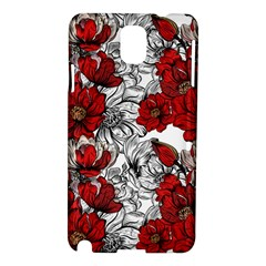 Hand Drawn Red Flowers Pattern Samsung Galaxy Note 3 N9005 Hardshell Case by TastefulDesigns