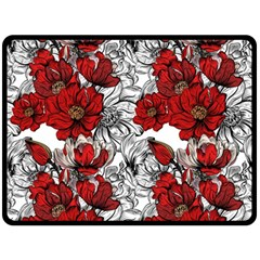 Hand Drawn Red Flowers Pattern Double Sided Fleece Blanket (large)  by TastefulDesigns