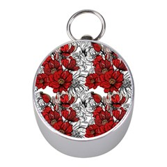 Hand Drawn Red Flowers Pattern Mini Silver Compasses by TastefulDesigns