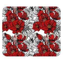 Hand Drawn Red Flowers Pattern Double Sided Flano Blanket (small)  by TastefulDesigns
