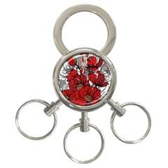 Red Flowers Pattern 3 Ring Key Chains by TastefulDesigns