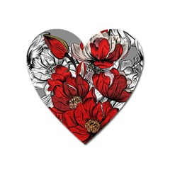 Red Flowers Pattern Heart Magnet by TastefulDesigns