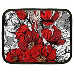 Red Flowers Pattern Netbook Case (xl)  by TastefulDesigns