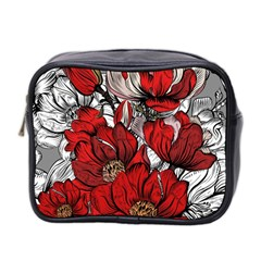 Red Flowers Pattern Mini Toiletries Bag 2 Side by TastefulDesigns