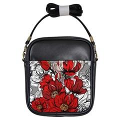Red Flowers Pattern Girls Sling Bags by TastefulDesigns