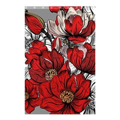 Red Flowers Pattern Shower Curtain 48  X 72  (small)  by TastefulDesigns
