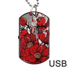 Red Flowers Pattern Dog Tag Usb Flash (two Sides) by TastefulDesigns