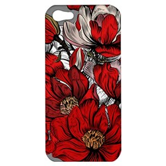 Red Flowers Pattern Apple Iphone 5 Hardshell Case by TastefulDesigns