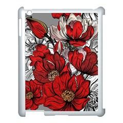 Red Flowers Pattern Apple Ipad 3/4 Case (white) by TastefulDesigns