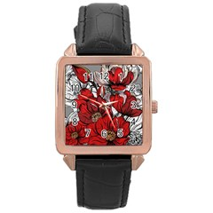 Red Flowers Pattern Rose Gold Leather Watch  by TastefulDesigns