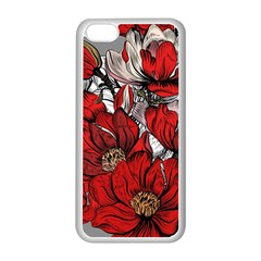 Red Flowers Pattern Apple Iphone 5c Seamless Case (white)