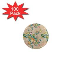 Hand Drawn Batik Floral Pattern 1  Mini Magnets (100 Pack)  by TastefulDesigns