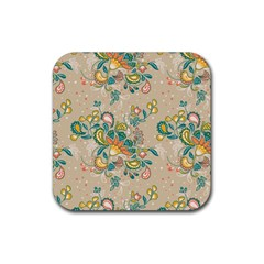 Hand Drawn Batik Floral Pattern Rubber Square Coaster (4 Pack)  by TastefulDesigns