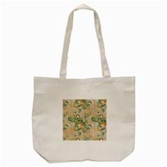 Hand Drawn Batik Floral Pattern Tote Bag (cream) by TastefulDesigns
