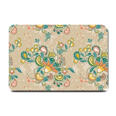 Hand Drawn Batik Floral Pattern Small Doormat  by TastefulDesigns