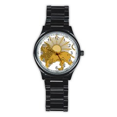 National Emblem Of Iran, Provisional Government Of Iran, 1979 1980 Stainless Steel Round Watch by abbeyz71