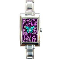 Zebra Stripes Black Pink   Butterfly Turquoise Rectangle Italian Charm Watch by EDDArt