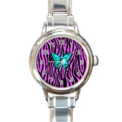 Zebra Stripes Black Pink   Butterfly Turquoise Round Italian Charm Watch by EDDArt
