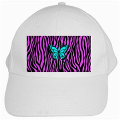 Zebra Stripes Black Pink   Butterfly Turquoise White Cap by EDDArt