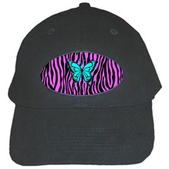 Zebra Stripes Black Pink   Butterfly Turquoise Black Cap by EDDArt