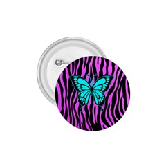 Zebra Stripes Black Pink   Butterfly Turquoise 1 75  Buttons by EDDArt