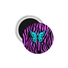 Zebra Stripes Black Pink   Butterfly Turquoise 1 75  Magnets by EDDArt