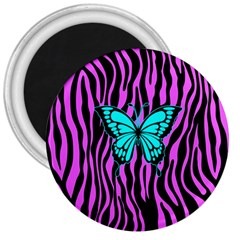 Zebra Stripes Black Pink   Butterfly Turquoise 3  Magnets by EDDArt