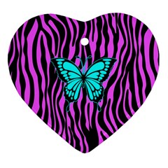 Zebra Stripes Black Pink   Butterfly Turquoise Ornament (heart) by EDDArt