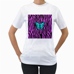 Zebra Stripes Black Pink   Butterfly Turquoise Women s T Shirt (white) (two Sided) by EDDArt