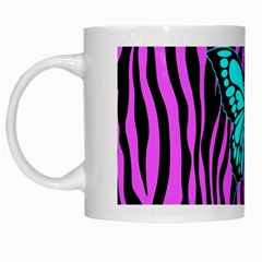 Zebra Stripes Black Pink   Butterfly Turquoise White Mugs by EDDArt