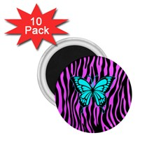 Zebra Stripes Black Pink   Butterfly Turquoise 1 75  Magnets (10 Pack)  by EDDArt