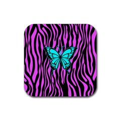 Zebra Stripes Black Pink   Butterfly Turquoise Rubber Square Coaster (4 Pack)  by EDDArt
