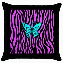 Zebra Stripes Black Pink   Butterfly Turquoise Throw Pillow Case (black) by EDDArt