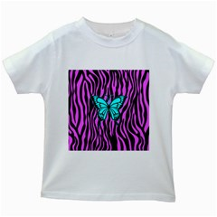 Zebra Stripes Black Pink   Butterfly Turquoise Kids White T Shirts by EDDArt