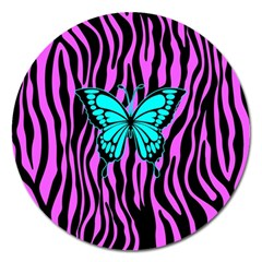 Zebra Stripes Black Pink   Butterfly Turquoise Magnet 5  (round) by EDDArt