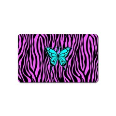 Zebra Stripes Black Pink   Butterfly Turquoise Magnet (name Card) by EDDArt