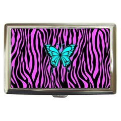 Zebra Stripes Black Pink   Butterfly Turquoise Cigarette Money Cases by EDDArt