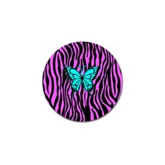 Zebra Stripes Black Pink   Butterfly Turquoise Golf Ball Marker (4 Pack) by EDDArt