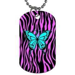 Zebra Stripes Black Pink   Butterfly Turquoise Dog Tag (two Sides) by EDDArt