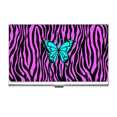 Zebra Stripes Black Pink   Butterfly Turquoise Business Card Holders by EDDArt