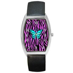 Zebra Stripes Black Pink   Butterfly Turquoise Barrel Style Metal Watch by EDDArt