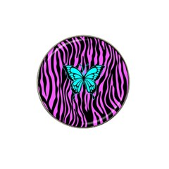 Zebra Stripes Black Pink   Butterfly Turquoise Hat Clip Ball Marker (4 Pack) by EDDArt