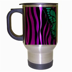 Zebra Stripes Black Pink   Butterfly Turquoise Travel Mug (silver Gray) by EDDArt