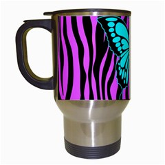 Zebra Stripes Black Pink   Butterfly Turquoise Travel Mugs (white) by EDDArt