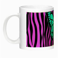 Zebra Stripes Black Pink   Butterfly Turquoise Night Luminous Mugs by EDDArt